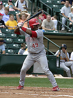 August 15, 2004:  Catcher Michel Hernandez (49) of the Scranton-Wilkes Barre Red Barons, Class-AAA International League affiliate of the Philadelphia Phillies, during a game at Frontier Field in Rochester, NY.  Photo by:  Mike Janes/Four Seam Images
