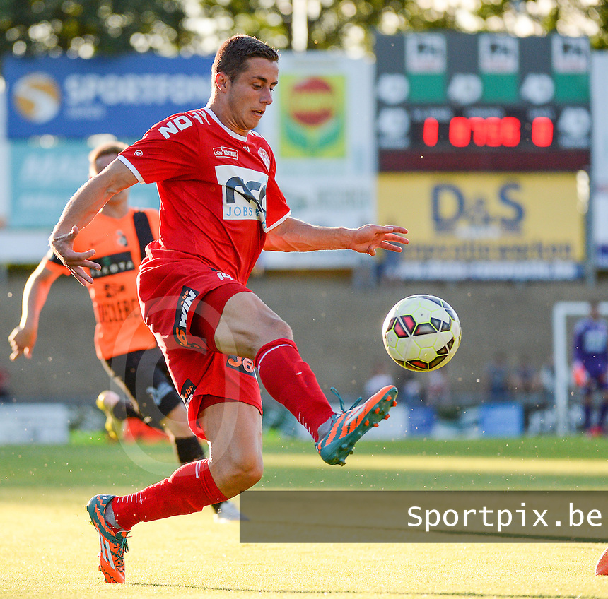 20150710 - DEINZE , BELGIUM : Kortrijk's Adam Marusic pictured during a friendly match between Belgian first division team KV Kortrijk and Belgian second division soccer team SK Deinze , during the preparations for the 2015-2016 season, Friday 10th July 2015 in Deinze . PHOTO DAVID CATRY