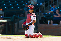 Surprise Saguaros catcher Jeremy Martinez (4), of the St. Louis Cardinals organization, during an Arizona Fall League game against the Peoria Javelinas at Surprise Stadium on October 17, 2018 in Surprise, Arizona. (Zachary Lucy/Four Seam Images)