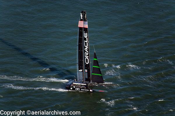 aerial photograph Oracle Racing America's Cup San Francisco bay California