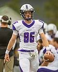 8 October 2016: Amherst College Purple & White Wide Receiver Jack Faulstick, a First Year from Wilbraham, MA, walks the sidelines during a game against the Middlebury College Panthers at Alumni Stadium in Middlebury, Vermont. The Panthers edged out the Purple & While 27-26. Mandatory Credit: Ed Wolfstein Photo *** RAW (NEF) Image File Available ***