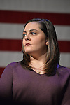 ERICA SMEGIELSKI, who lost her mother Dawn Lafferty Hochsprungand, the Principal of Sandy Hook Elementary School in Newtown, CT,  is one of the panelists who share  their personal stories of loss of a loved one due to gun violence, during a discussion with Hillary Clinton and other activists on gun violence prevention. Clinton, the leading Democratic presidential primary candidate, called for stricter gun control legislation and vowed to take on the gun lobby, NRA National Rifle Association. Clinton had several Long Island events scheduled this day, and the New York presidential primary is April 19.