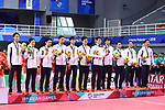 Japan team group (JPN),<br /> AUGUST 25 2018 - Sepak takroae : <br /> Men's Doubles Medal ceremony <br /> at Jakabaring Sport Center Ranau Hall <br /> during the 2018 Jakarta Palembang Asian Games <br /> in Palembang, Indonesia. <br /> (Photo by Yohei Osada/AFLO SPORT)