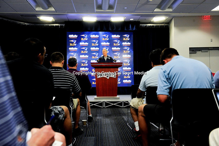 August 4, 2015: New England Patriots head coach Bill Belichick holds a press conference during the New England Patriots training camp at Gillette Stadium, in Foxborough, Massachusetts. Eric Canha/CSM