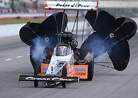 May 16, 2015; Commerce, GA, USA; NHRA top fuel driver Clay Millican during qualifying for the Southern Nationals at Atlanta Dragway. Mandatory Credit: Mark J. Rebilas-USA TODAY Sports