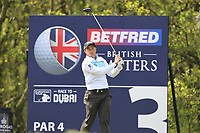 Paul Dunne (IRL) on the 3rd tee during Round 3 of the Betfred British Masters 2019 at Hillside Golf Club, Southport, Lancashire, England. 11/05/19<br /> <br /> Picture: Thos Caffrey / Golffile<br /> <br /> All photos usage must carry mandatory copyright credit (&copy; Golffile | Thos Caffrey