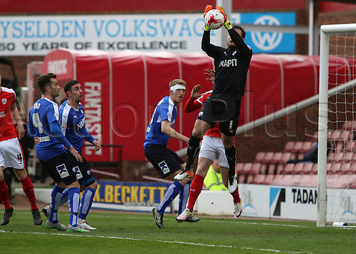 09.04.2016. Oakwell, Barnsley, England. Skybet League One. Barnsley versus Chesterfield. Chesterfields Keeper Tommy Lee jumps and catches the ball from a cross