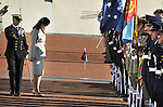 Prime Minister of Thailand Yingluck Shinawatra acknowledges the Federation Guard during a ceremonial welcome at Parliament House, Canberra, on Monday May 28th 2012. AFP PHOTO / Mark GRAHAM