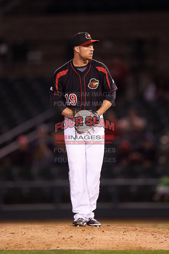 Rochester Red Wings relief pitcher Alex Wimmers (19) gets ready to deliver a pitch during a game against the Syracuse Chiefs on July 1, 2016 at Frontier Field in Rochester, New York.  Rochester defeated Syracuse 5-3.  (Mike Janes/Four Seam Images)