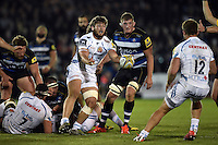 Alex Hepburn of Exeter Chiefs passes the ball. West Country Challenge Cup match, between Bath Rugby and Exeter Chiefs on October 10, 2015 at the Recreation Ground in Bath, England. Photo by: Patrick Khachfe / Onside Images