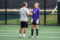 Allston, MA - Sunday July 31, 2016: Marcos Machado, Kaitlyn Savage prior to a regular season National Women's Soccer League (NWSL) match between the Boston Breakers and the Orlando Pride at Jordan Field.