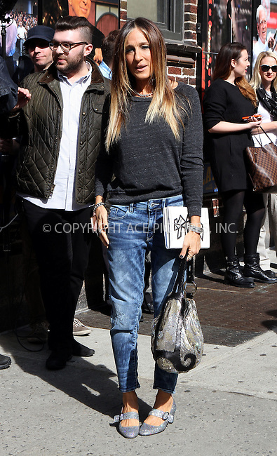 WWW.ACEPIXS.COM<br /> <br /> April 13 2015, New York City<br /> <br /> Actress Sarah Jessica Parker made an appearance at 'The Late Show with David Letterman' on April 13 2015 in New York City<br /> <br /> By Line: Nancy Rivera/ACE Pictures<br /> <br /> <br /> ACE Pictures, Inc.<br /> tel: 646 769 0430<br /> Email: info@acepixs.com<br /> www.acepixs.com