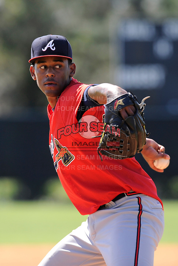Pitcher Bryton Trepagnier (23) of the Atlanta Braves farm system in a Minor League Spring Training workout on Monday, March 16, 2015, at the ESPN Wide World of Sports Complex in Lake Buena Vista, Florida. (Tom Priddy/Four Seam Images)