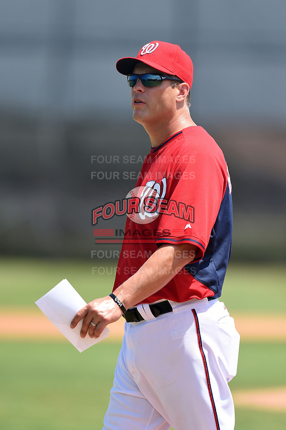 GCL Nationals manager Michael Barrett (8) before a game against the GCL Marlins on June 28, 2014 at the Carl Barger Training Complex in Viera, Florida.  GCL Nationals defeated the GCL Marlins 5-0.  (Mike Janes/Four Seam Images)