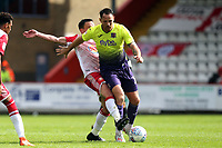 Tom Parkes of Exeter City and Paul Taylor of Stevenage during Stevenage vs Exeter City, Sky Bet EFL League 2 Football at the Lamex Stadium on 10th August 2019