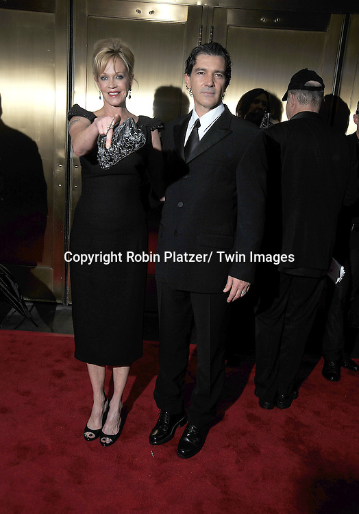 Melanie Griffith and Antonio Banderas arriving at The 61st Annual Tony Awards on June 13, 2010 at Radio City Music Hall in New York City.