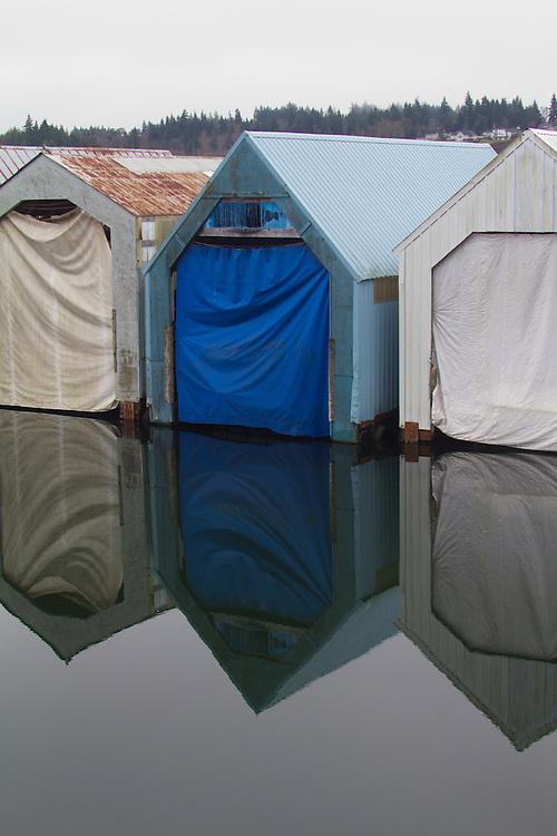 Puget Sound, Shelton, marina, boat sheds, winter, abstract, Washington State,