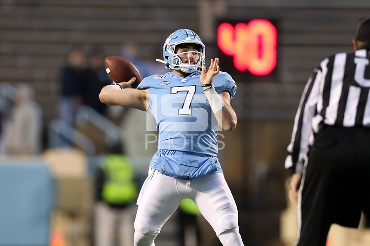 CHAPEL HILL, NC - NOVEMBER 23: Sam Howell #7 of the University of North Carolina throws a pass during a game between Mercer University and University of North Carolina at Kenan Memorial Stadium on November 23, 2019 in Chapel Hill, North Carolina.