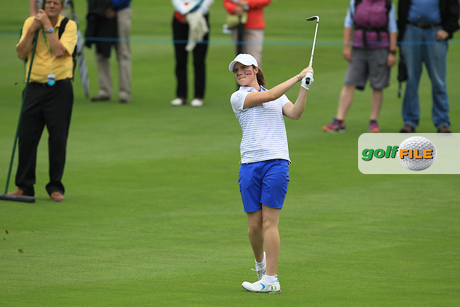 Leona Maguire on the 5th during the Friday afternoon Fourballs of the 2016 Curtis Cup at Dun Laoghaire Golf Club on Friday 10th June 2016.<br /> Picture:  Golffile | Thos Caffrey