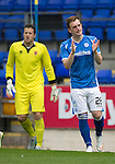 St Johnstone v Blackpool...25.07.15  McDiarmid Park, Perth.. Pre-Season Friendly<br /> Liam Craig reacts after missing a chance to score<br /> Picture by Graeme Hart.<br /> Copyright Perthshire Picture Agency<br /> Tel: 01738 623350  Mobile: 07990 594431
