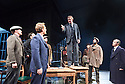 An Enemy of The People by Henrik Ibsen, a new version by Christopher Hampton directed by Howard Davies. With Hugh Bonneville as Dr Tomas Stockmann[standing on table] Opens at Chichester Festival Theatre on 4/5/16 CREDIT Geraint Lewis