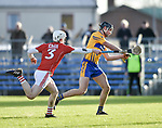 Cathal Malone of Clare scores a goal, despite Eoin Murphy during their Munster Hurling League game against Cork at Cusack Park. Photograph by John Kelly.
