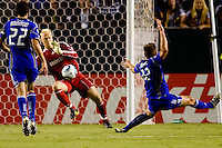 Jimmy Nielsen Goalkeeper of the Kansas City Wizards with another point blank save. The Kansas City Wizards beat the LA Galaxy 2-0 at Home Depot Center stadium in Carson, California on Saturday August 28, 2010.
