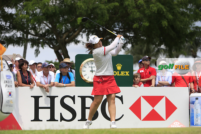Inbee Park (KOR) on the 18th tee during Round 3 of the HSBC Women's Champions at the Sentosa Golf Club, The Serapong Course in Singapore on Saturday 7th March 2015.<br /> Picture:  Thos Caffrey / www.golffile.ie
