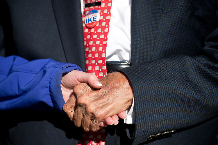 UNITED STATES - NOVEMBER 11: World War II veteran and U.S. Senator Bob Dole, 92, greets supporters at the WWII Memorial on Veteran's Day, November 11, 2015. (Photo By Tom Williams/CQ Roll Call)