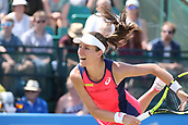 June 17th 2017, Nottingham, England;WTA Aegon Nottingham Open Tennis Tournament day 6;  Johanna Konta of Great Britain serving in the semi final against Magdalena Rybarikova of The Slovak Republic