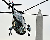 Marine One, with United States President Barack Obama aboard, departs the South Lawn of the White House in Washington, D.C. for a quick trip to Cleveland, Ohio to discuss the economy..Credit: Ron Sachs / CNP