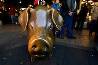 A bronze pig at Pike Place Market in Seattle Washington.