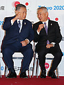 (L-R) Yoshiro Mori, Masanobu Komoda, OCTOBER 9, 2015 : Mitsui Fudosan a Japanese property developer and Gold Partner for the Tokyo 2020 Olympic Games holds a special event in Nihonbashi, downtown Tokyo, Japan on October 9, 2015. (Photo by Sho Tamura/AFLO SPORT)
