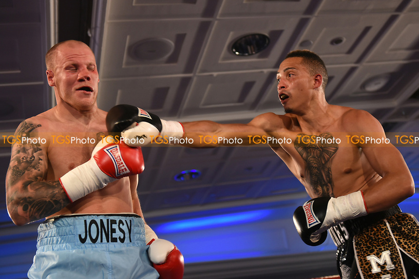Morgan Jones (black shorts) defeats Adam Jones during a Boxing Show at the Royal Lancaster Hotel on 10th May 2017