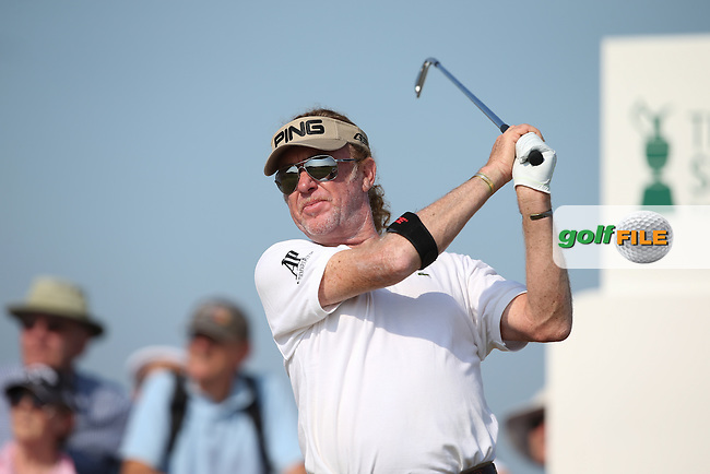 Miguel Angel Jimenez (ESP) during Round One of the 2014 Senior Open Championship presented by Rolex from Royal Porthcawl Golf Club, Porthcawl, Wales. Picture:  David Lloyd / www.golffile.ie