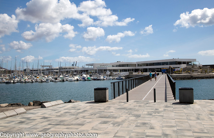 Yachts at moorings and new buildings marina area of Arrecife, Lanzarote, Canary Islands, Spain