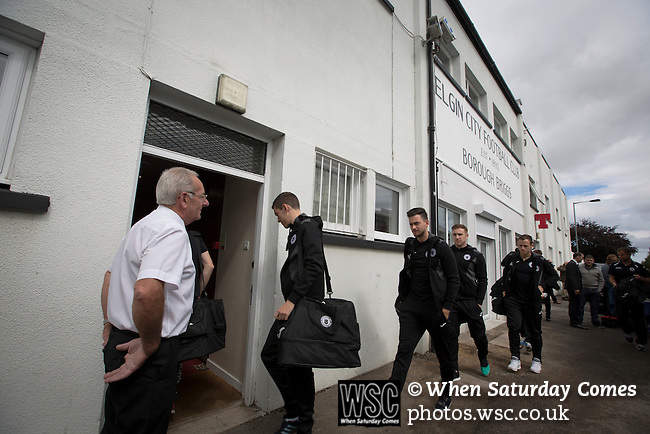Elgin City 3 Edinburgh City 0, 13/08/2016. Borough Briggs, Scottish League Two. Visiting players and officials arriving at Borough Briggs, home to Elgin City, on the day they played SPFL2 newcomers Edinburgh City. Elgin City were a former Highland League club who were elected to the Scottish League in 2000, whereas Edinburgh City became the first club to gain promotion to the League by winning the Lowland League title and subsequent play-off matches in 2015-16. This match, Edinburgh City's first away Scottish League match since 1949, ended in a 3-0 defeat, watched by a crowd of 610. Photo by Colin McPherson.