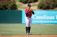 Kannapolis Intimidators shortstop Max Dutto (6) on defense against the Asheville Tourists at Kannapolis Intimidators Stadium on May 7, 2017 in Kannapolis, North Carolina.  The Tourists defeated the Intimidators 4-1.  (Brian Westerholt/Four Seam Images)