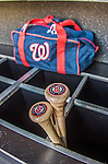 6 April 2015: Two of Washington Nationals catcher Jose Lobaton's bat lie ready in the bin prior to the Home Opening Game against the New York Mets at Nationals Park in Washington, DC. The Mets rallied to defeat the Nationals 3-1 in their first meeting of the 2015 MLB season. Mandatory Credit: Ed Wolfstein Photo *** RAW (NEF) Image File Available ***