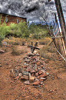 Old West grave site with 2 crosses in Goldfield Mine and Ghost Town cemetery - Arizona. © 2012 Cheyenne L Rouse/All rights reserved