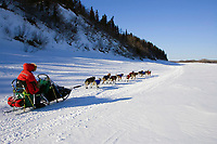 Sebastian Schnuelle on the Yukon river shortly before the Anvik checkpoint
