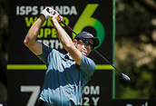 9th February 2018, Lake Karrinyup Country Club, Karrinyup, Australia; ISPS HANDA World Super 6 Perth golf, second round; Nick O'Hern (AUS)  tees off