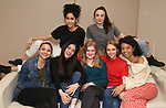 """Lilly Santiago, Isabelle Fuhrman, Sharlene Cruz, Sophia Kelly-Hendrick, AnnaSophia Robb, Ismenia Mendes and Ayana Workman in rehearsal with Red Bull Theater's All-Female """"MACBETH"""" at the Vineyard Theatre Rehearsal Studios on April 12, 2019 in New York City."""