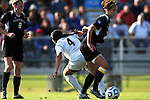 03 DEC 2011:Kimberly Morton (15) of Saint Rose and Ashley Botts (4) of GVSU battle for the ball during the Division II Women's Soccer Championship held at the Ashton Brosnaham Soccer Complex in Pensacola, FL.  Saint Rose defeated Grand Valley State 2-1 to win the national title.  Stephen Nowland/NCAA Photos