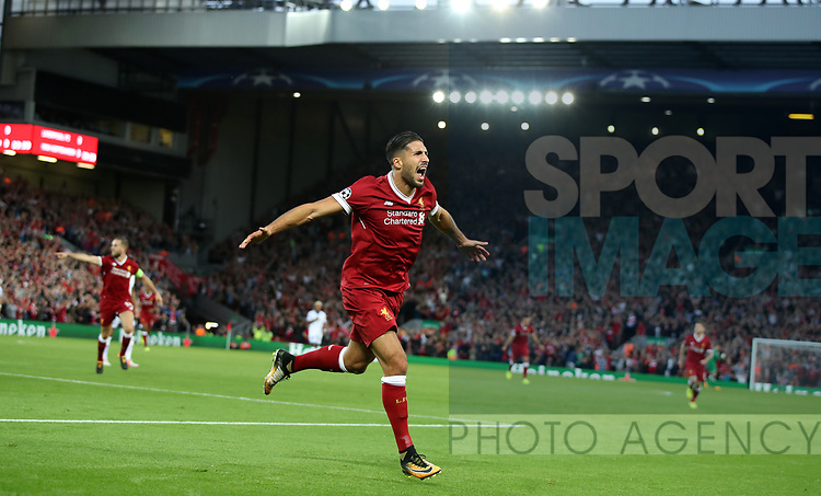 Emre Can of Liverpool celebrates scoring during the Champions League playoff round at the Anfield Stadium, Liverpool. Picture date 23rd August 2017. Picture credit should read: Lynne Cameron/Sportimage