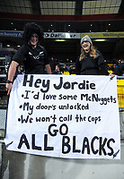 Fans with a Jordie Barrett banner during the Steinlager Series international rugby match between the New Zealand All Blacks and France at Westpac Stadium in Wellington, New Zealand on Saturday, 16 June 2018. Photo: Dave Lintott / lintottphoto.co.nz