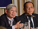 April 26th, 2011, Tokyo, Japan - Makoto Iokibe, president of the National Defense Academy of Japan, explains a reconstruction plan for the devastated northeastern region during a news conference at Tokyo's Foreign Correspondent's Club of Japan on Tuesday, April 26, 2011. Iokibe heads a panel the Japanese government set up for the reconstruction of the northeastern region, now known as Tohoku, which was destroyed by the March 11 earthquake and tsunami. At right is Jun Iio, who heads a subgroup devising a framework report to be submitted to the panel. (Photo by Natsuki Sakai/AFLO) [3615] -mis-.