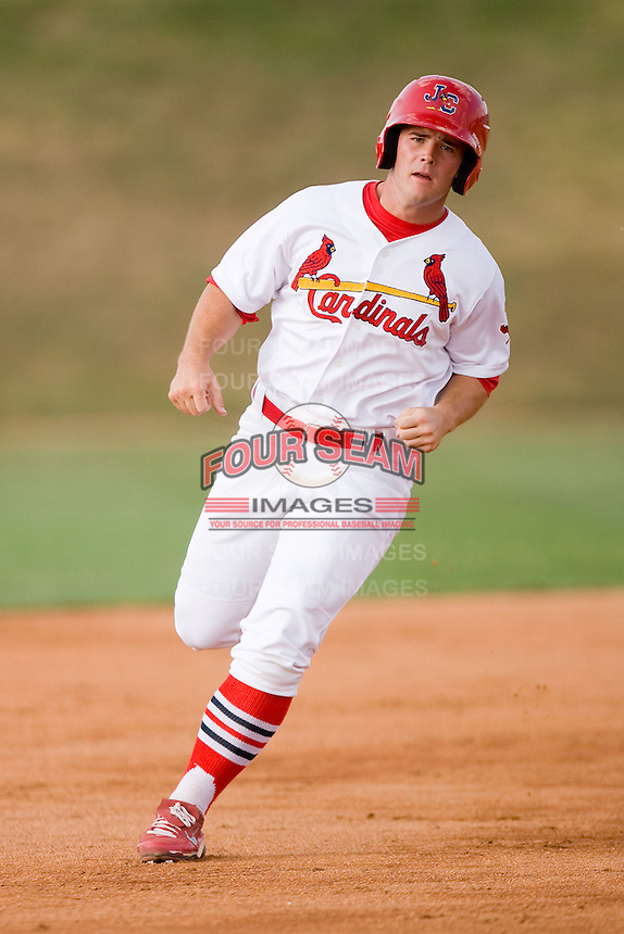 Chris Edmondson #11 of the Johnson City Cardinals hustles towards third base against the Elizabethton Twins at Howard Johnson Field July 3, 2010, in Johnson City, Tennessee.  Photo by Brian Westerholt / Four Seam Images