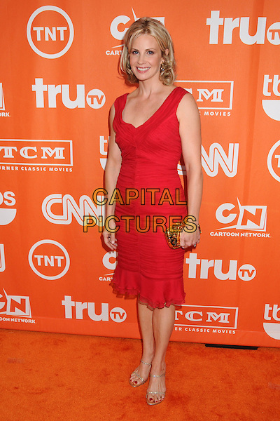 MONICA POTTER.Turner Summer 2008 TCA Party at the Beverly Hilton Hotel, Beverly Hills, California, USA..July 11th, 2008.full length red dress sleeveless gold clutch bag.CAP/ADM/BP.©Byron Purvis/AdMedia/Capital Pictures.