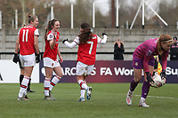 Vivianne Miedema of Arsenal scores the eighth goal for her team and celebrates during Arsenal Women vs Bristol City Women, Barclays FA Women's Super League Football at Meadow Park on 1st December 2019